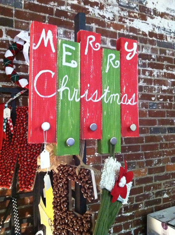 Hanging Wooden Stocking Holder Merry Christmas by MyGlassMonkey, $25.00