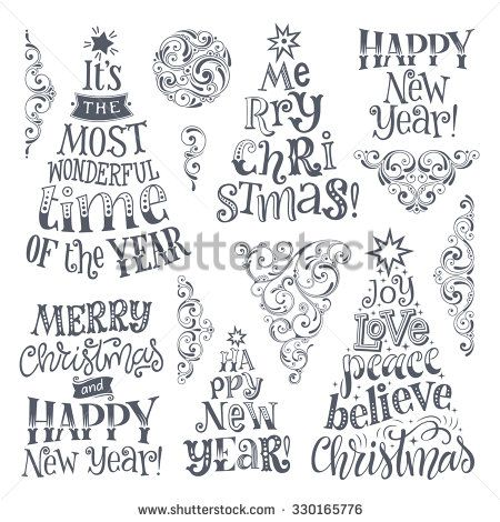 Vector set of holidays lettering and ornamental elements. Merry Christmas and…