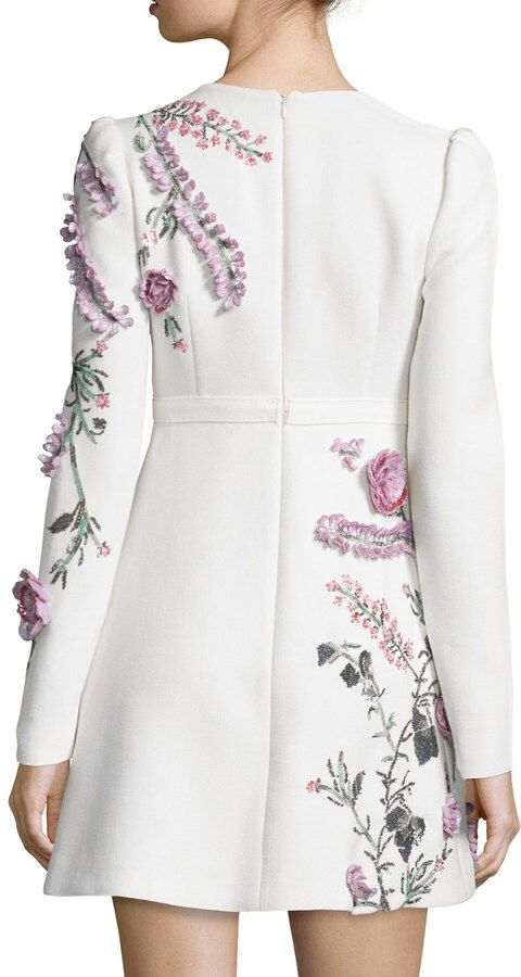 Giambattista Valli  Embroidered Long-Sleeve Dress, White