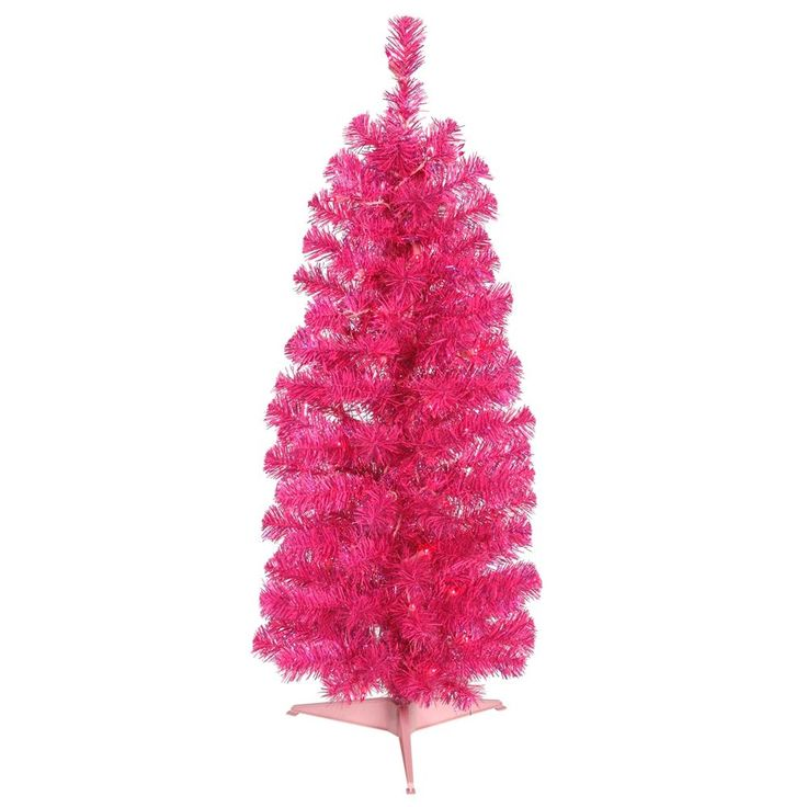 Vickerman Hot Pink PVC 3-foot Pencil Artificial Christmas Tree with 50 Pink LED Lights (Pink Pencil) (Plastic)
