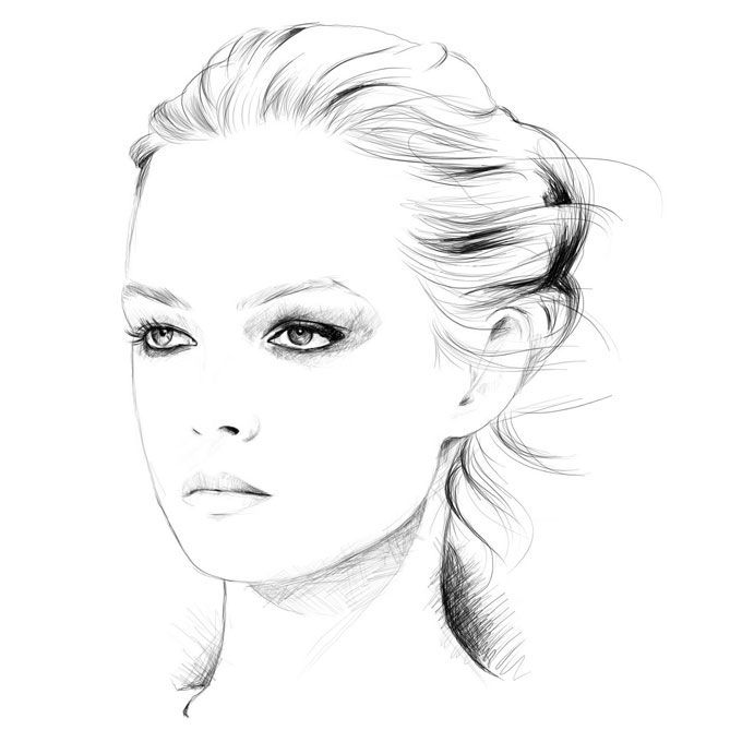 Fashion illustration - model portrait, fashion drawing // Caroline Andrieu