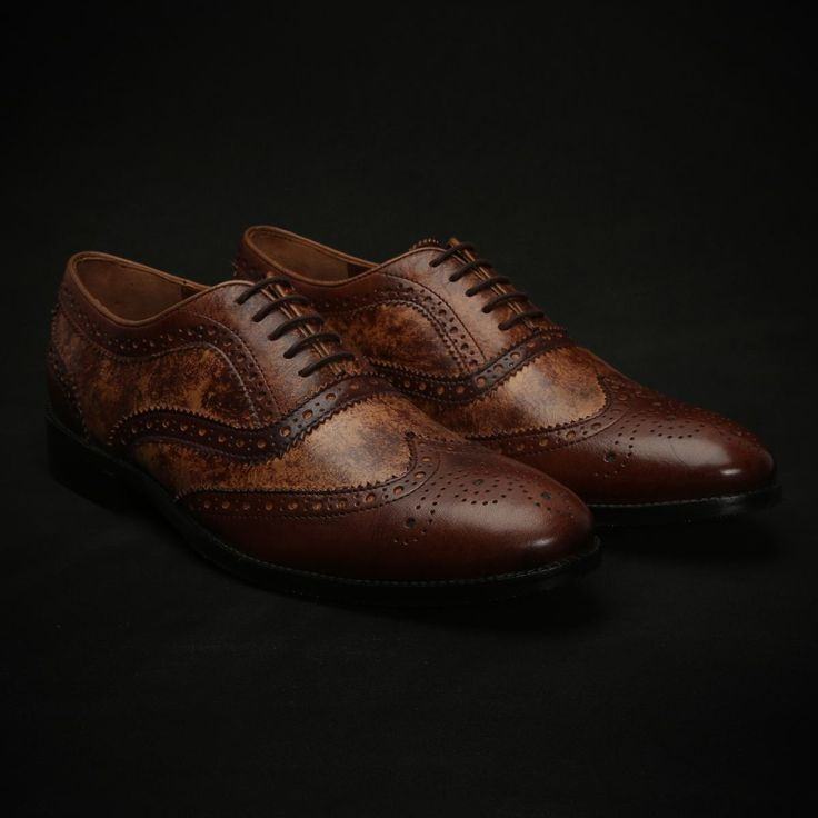 BUY TAN HAND PAINTED DUAL SHADE LEATHER FULL BROGUE SHOES NEW EXCLUSIVE COLLECTION BY BRUNE