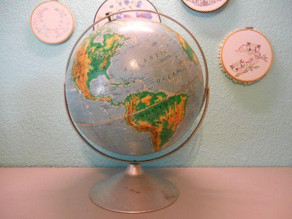 XL rare world globe Vintage world globe by SouvenirAndSalvage