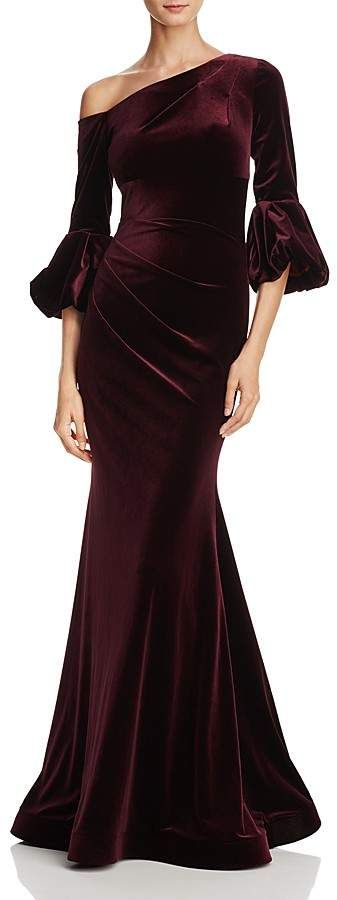 Aqua One-Shoulder Velvet Gown - 100% Exclusive