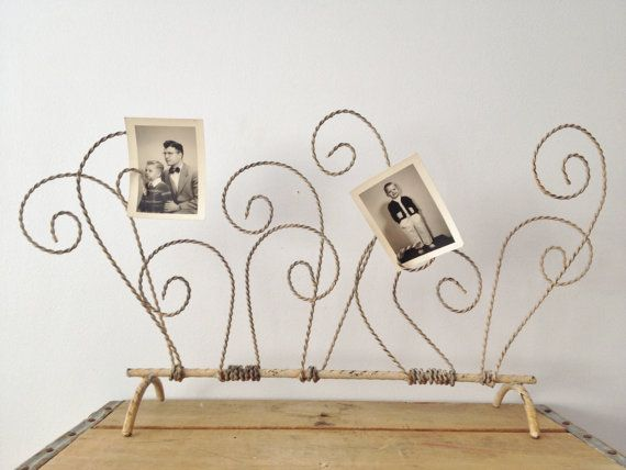 Wire Picture Holder  Scroll  Twisted Wire  by LillyQueenVintage, $38.00