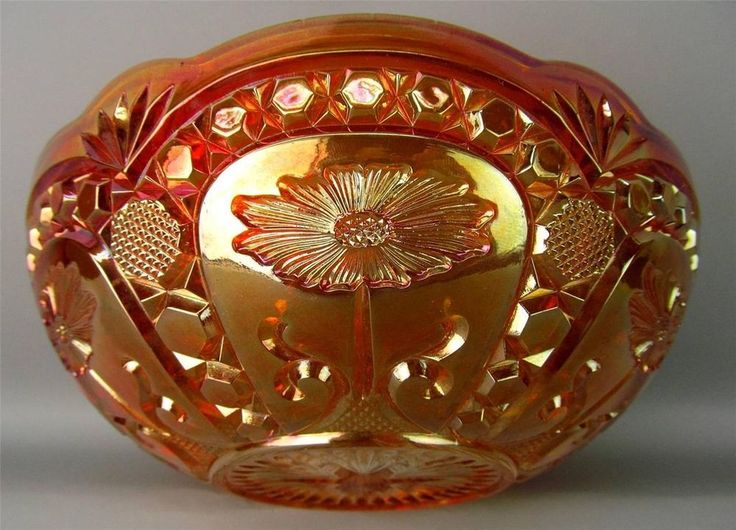 "ASTERS by BROCKWITZ ~ DARK MARIGOLD GERMAN CARNIVAL GLASS 8"" BOWL"