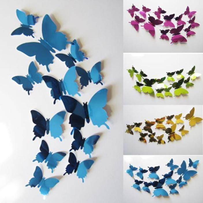 Wall Stickers Decal Butterflies 3D Mirror Bedroom Home Wall Art Home Decors