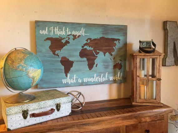 And I Think To Myself 24x36 Handcrafted Canvas Wood Sign