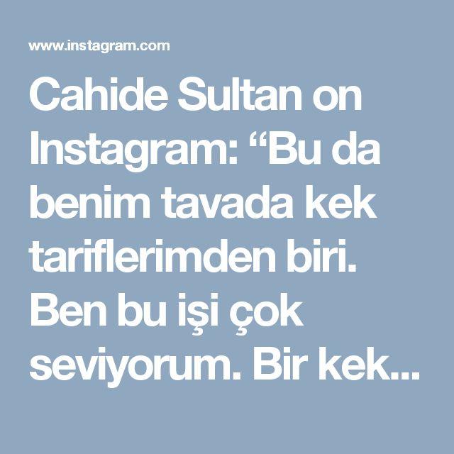 """Cahide Sultan on Instagram: """"Bu da benim tavada kek tariflerimden biri. Ben bu işi çok seviyorum. Bir kek için koca fırını çalıştırma derdi yok😉 Bu kek 6 kişilik aileme…"""" • Instagram"""