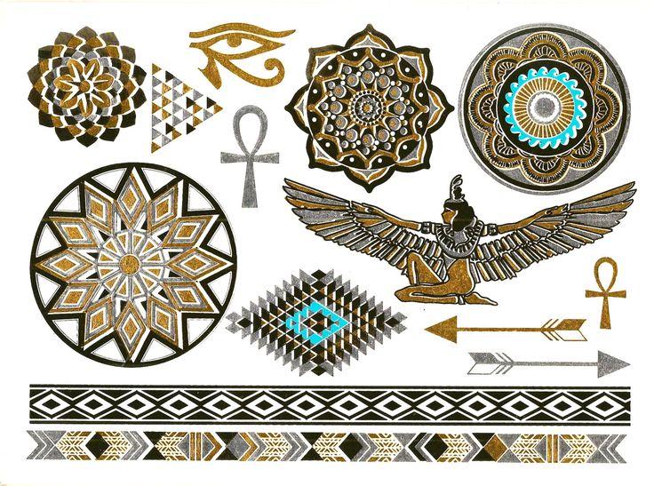 Metallic Temporary Egyptian Inspired Tattoos - Gold Silver Tattoo - Tattoo Jewelry - metalic tattoos - gold tattoos - metallic body art by intheyear1967 on Etsy