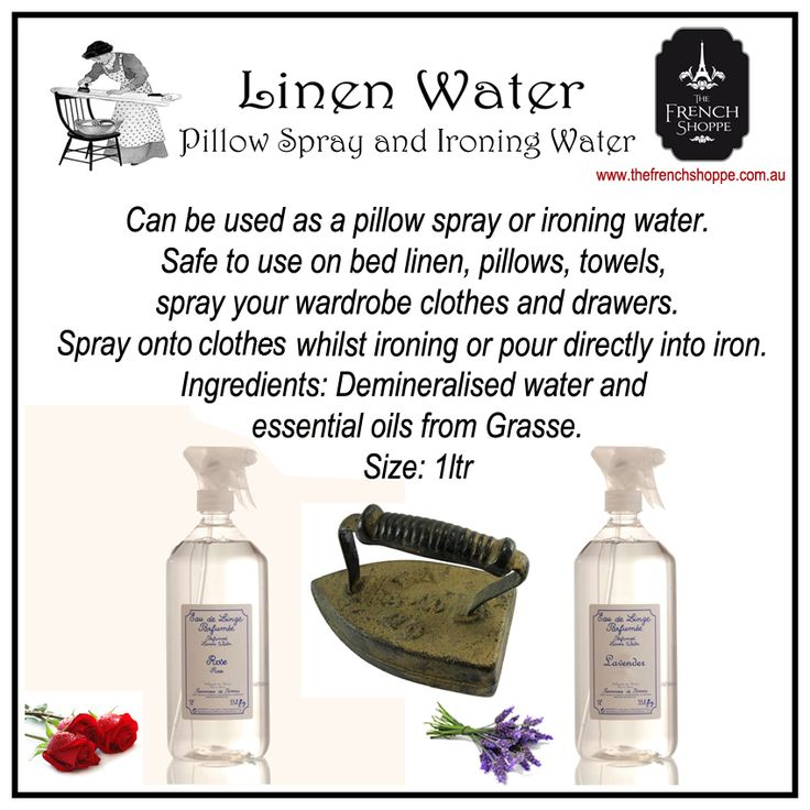 #Rose and #Lavender #Linen Water http://www.thefrenchshoppe.com.au/shop/lavender-pillow-spray-and-ironing-water.html