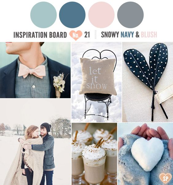 A Snowy Navy And Blush Inspiration Board Colour Palettes