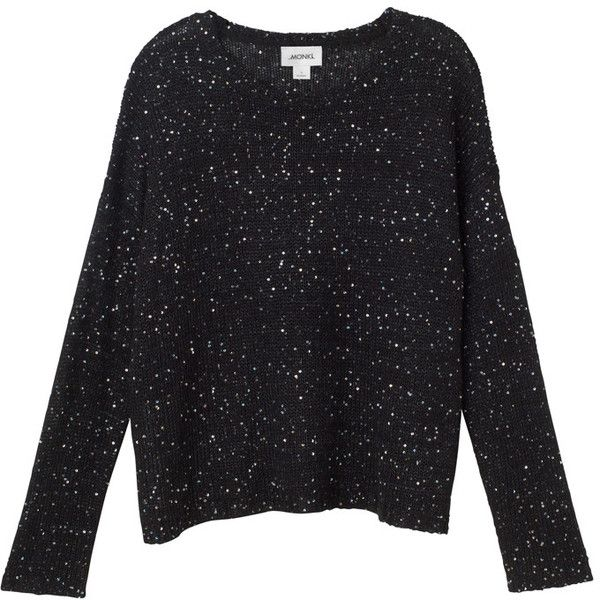 Monki Yuri knit (36 CAD) ❤ liked on Polyvore featuring tops, sweaters, jumpers, shirts, black magic, black knit top, black knit sweater, knit shirt, black star shirt and party jumpers