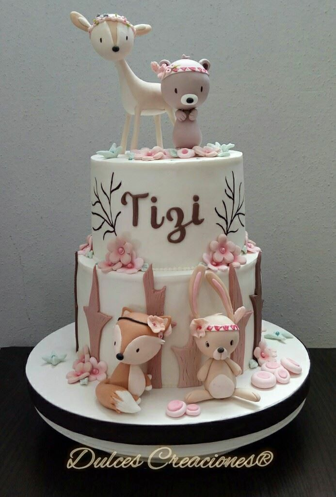 Forest Animal Baby Shower Cake