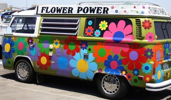 vw flower power hippie van campervan pinterest flower flower power and hippie style. Black Bedroom Furniture Sets. Home Design Ideas