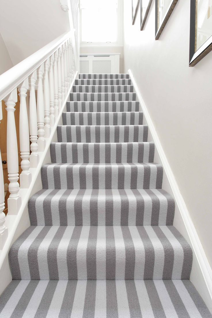 Grey Wool Bloc Stripe Carpet By Alternative Flooring Fitted To Stairs And Landing In Surrey Period Property Striped Carpets Alternative Flooring Carpet Stairs