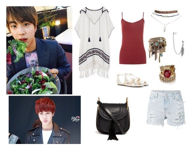 """Picnic with Jin"" by k-pop-outfits ❤ liked on Polyvore featuring Tory Burch, Ksubi, New Look, CHARLES & KEITH, Wet Seal, Bling Jewelry, ABS by Allen Schwartz and Chloé"