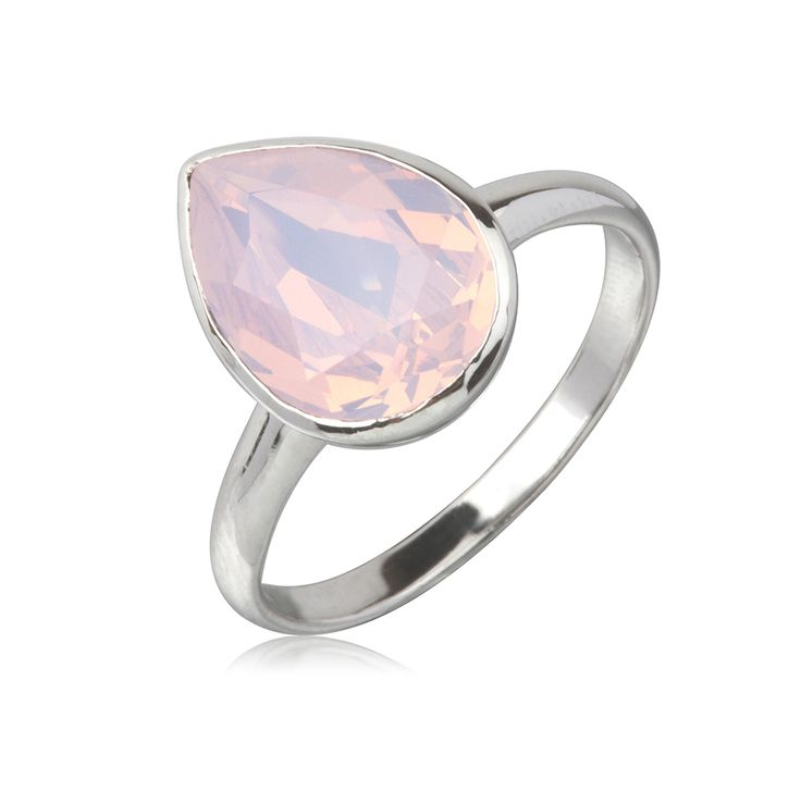 Rose Water Opal Tear Drop 14x10mm Ring  $79.95 Tear drop 14x10mm Swarovski Crystal elements ring crafted with rhodium enhanced sterling silver. #Bling #SwarovskiCrystal #MarisaKateDesigns #Love #RoseWaterOpal