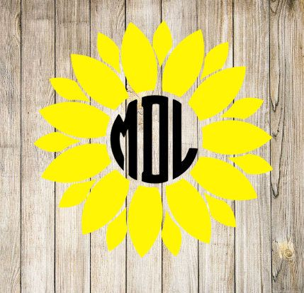 Sunflower Circle Monogram Decal Two Colors Yeti Cup Decal