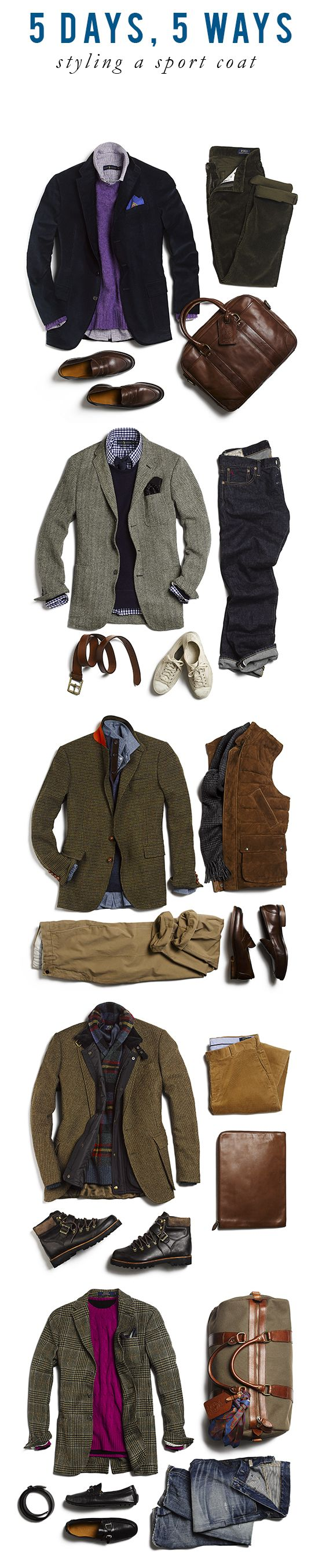 5 Days, 5 Ways: The Art of the Sport Coat | Style | Pinterest | Mens fashion, Fashion and Style