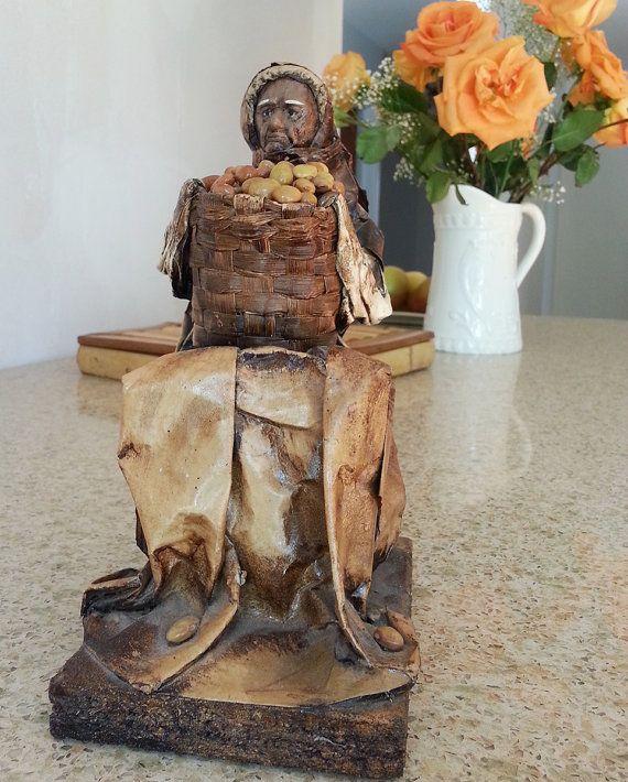 Vintage Papier Mache Figurine  Ethnic Sculpture  by LOFTforvintage