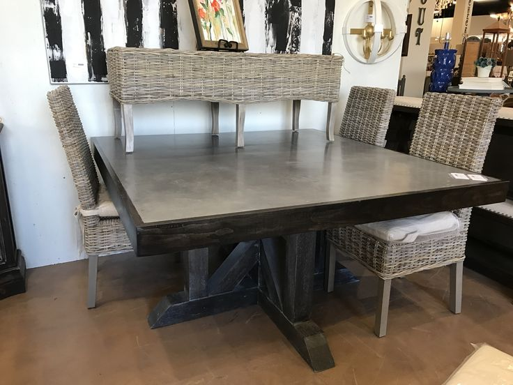 56 Square Table With Faux Cement Top Available For Purchase 1450 Call TableCustom Dining TablesSquare TablesCharlotte Nc