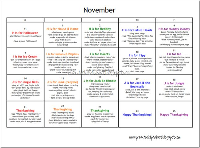 Printable Calendars A Calendar For Each Month With Activities For