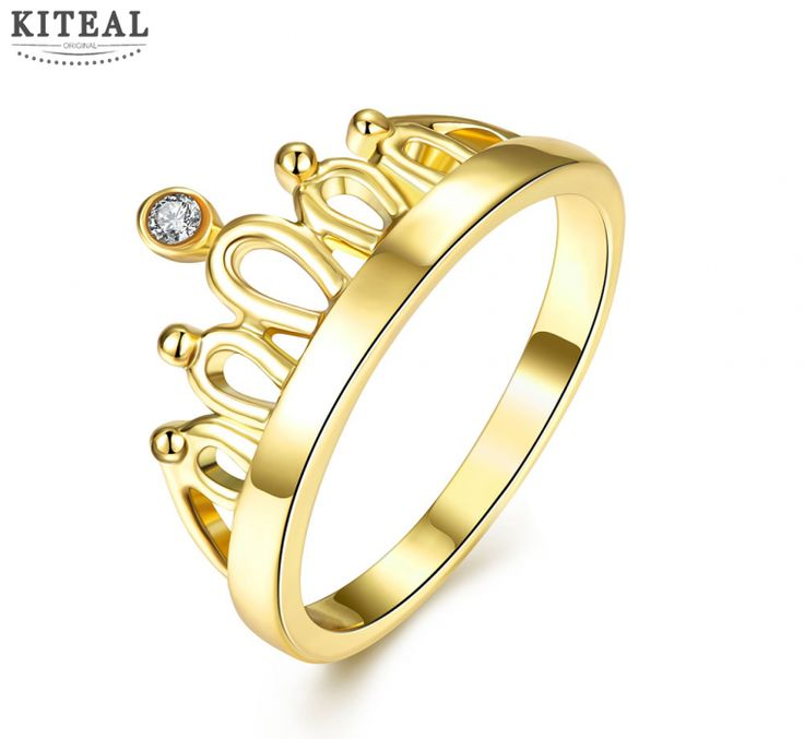 Fashion wholesale charms Gold color bride Crown finger rings  Wedding accessories femme women jewelry