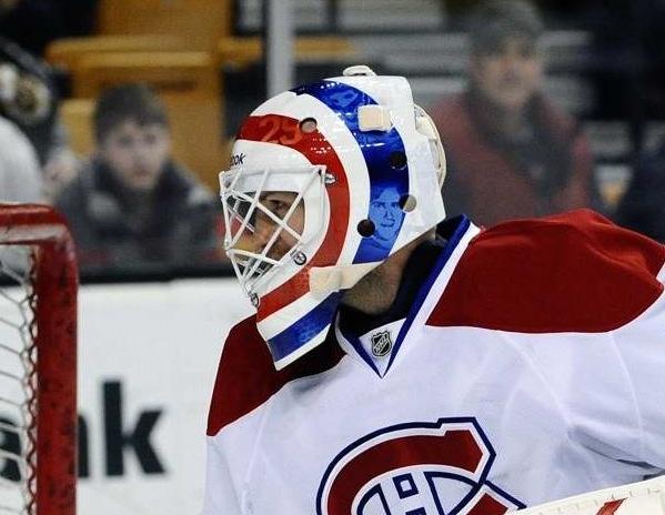 Alex Auld goalie mask, based on Ken Dryden's design.