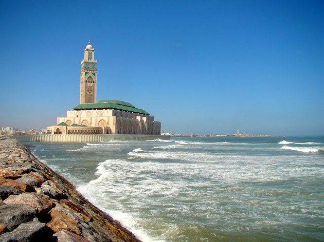 The world's seventh largest mosque, the Hassan II Mosque in Casablanca, Morocco, is among the world's most beautiful mosques.