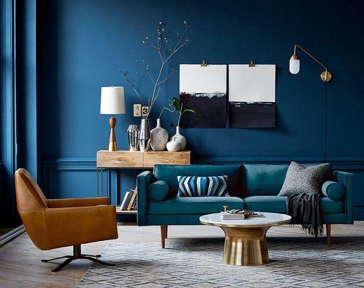 Image result for mid century blue velvet sofa