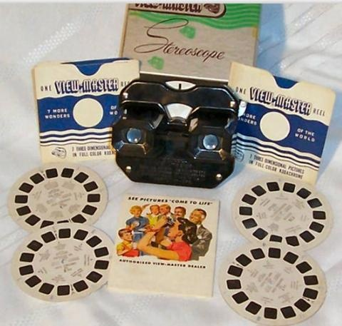 Viewmaster-Actually earlier than the sixties.  I used to love to look at my mother's pictures from her trip to Canada from 1947.