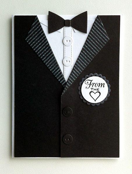 Card for men - MFT suit and tie die - bowtie- kort til mænd jakke og slips butterfly - Karte für Männer