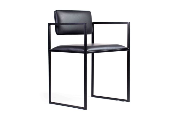 Albert Dining Chair in black leather upholstery.