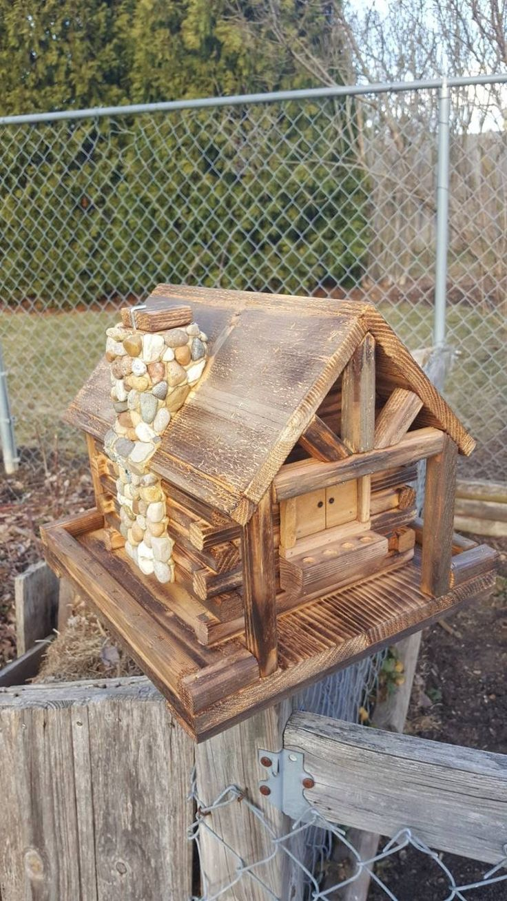 Bird Feeder Log Cabin Style with Stone Chimney Etsy in