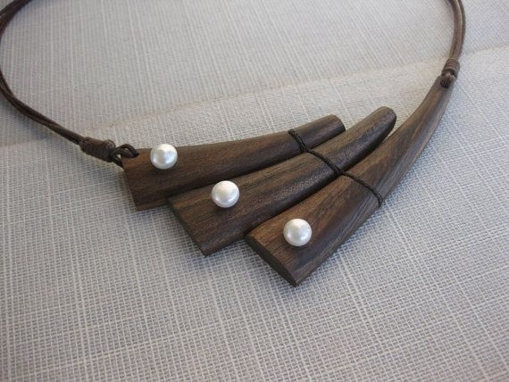 Walnut wood and pearl necklace wooden by NatureArtJewellery