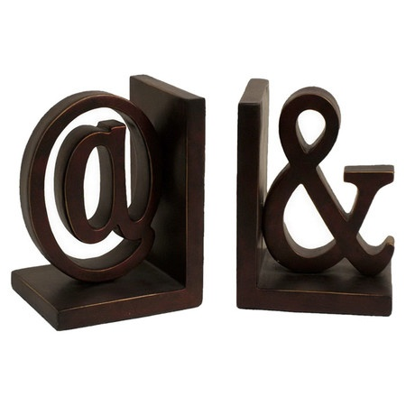 Bookend Set With An Ampersand And Asperand Design. Product: 2 Piece Bookend  SetConstruction Material: ResinColor: BrownDimensions: 8 H X W X 5 D Each