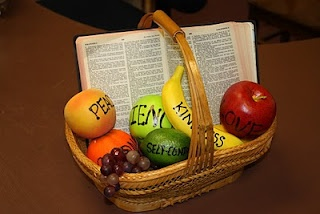 Hands On Bible Teacher: Fruit of the Spirit basket visual (A neat application: PEEL the fruit and show the children that when our heart (inside) is Christ-like, we will be known for our 'sweetness')