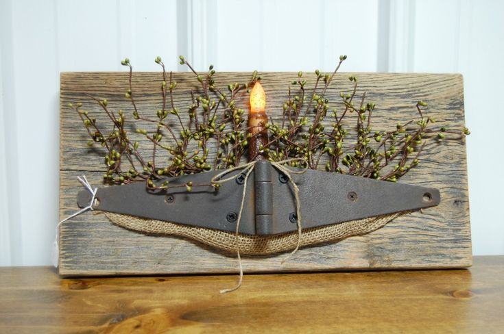 Primitive Candle Barn Hinge Wall Hanging with Candle | eBay
