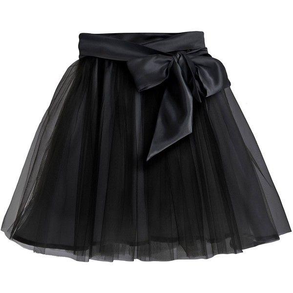 Little Wardrobe London - Fairytale Tulle Skirt with Satin Sash Black (€78) ❤ liked on Polyvore featuring skirts, bottoms, black, sash belt, knee length tulle skirt, satin midi skirt, bow skirt and bow midi skirt