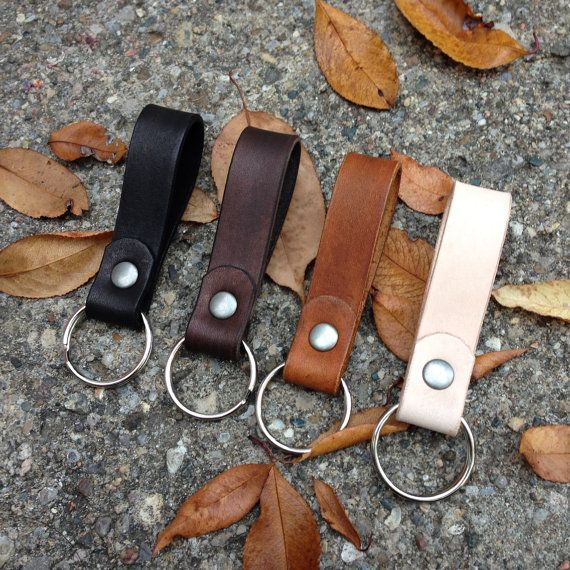 Leather Keychain by woodnsteel on Etsy