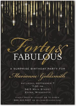 12 best 40th birthday party ideas images on pinterest birthday fabulous forty gold glitter birthday invitations for her solutioingenieria Images
