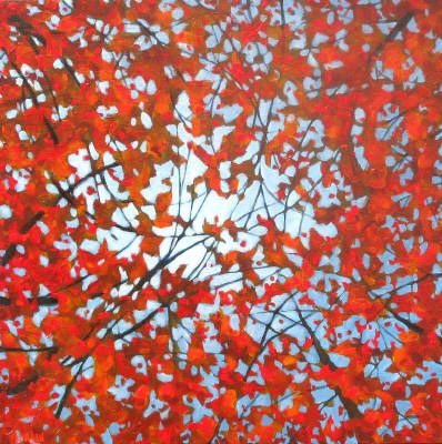 Melissa Jean, A Ceiling of Red, Acrylic on Canvas 16 X 16 in.