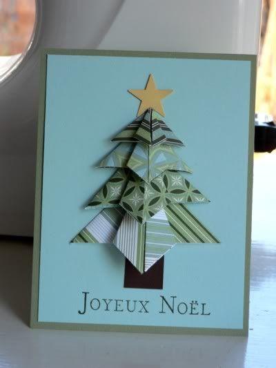 Un sapin de Noël en origami et scrapbooking - Carterie artisanale et scrapbooking Stampin'Up!