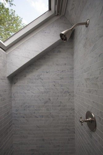 Shower, skylight, marble. It would almost be like showering outside!