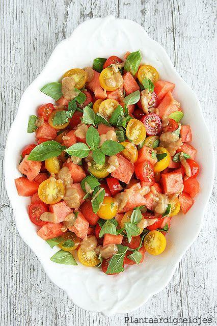 Watermeloen - tomatensalade met vijgendressing - Plantaardigheidjes