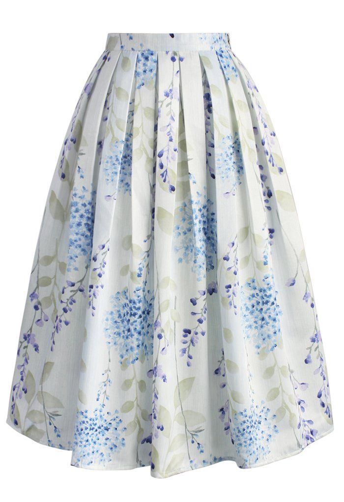 Tranquil Watercolor Floral Midi Skirt - CHICWISH SKIRT COLLECTION - Skirt - Bottoms - Retro, Indie and Unique Fashion