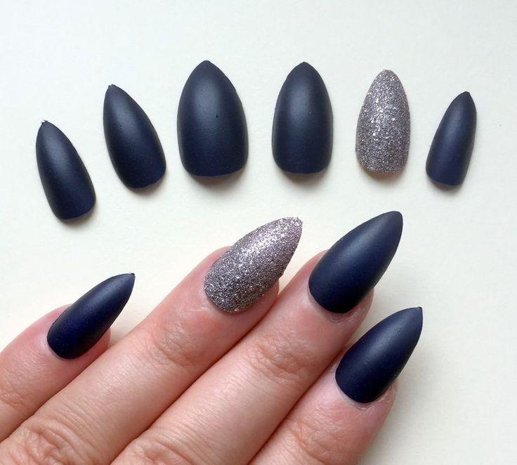 Hand Painted False Nails Stiletto Full Cover Matte Dark Navy Blue & Silver