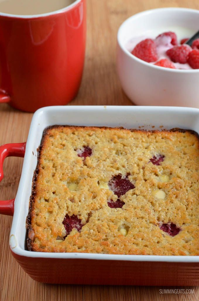 Slimming Eats Raspberry and White Chocolate Baked Oatmeal - gluten free, vegetarian, Slimming World and Weight Watchers friendly