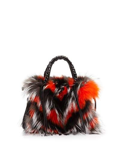 Gabria Crazy Fur Mini Satchel Bag, Bordeaux